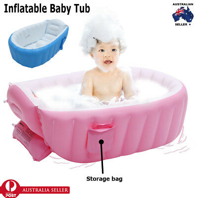 Red Inflatable Baby Tub Travel Bath Kids Bathtub Shower Newborn Swimming Pool