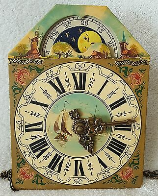 Warmink Clock Movement & Dial & Chains Friese Wall Clock Moon Dial Dutch Vintage