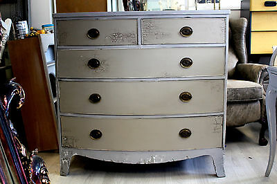 antique victorian mahogany bow front chest of drawers large painted shabby chic
