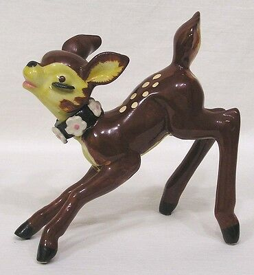 Vintage Deer Figurine Flowers on Collar Brown Yellow Bambi