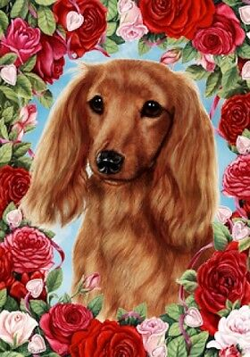 Large Indoor/Outdoor Roses Flag - Longhaired Red Dachshund 19138