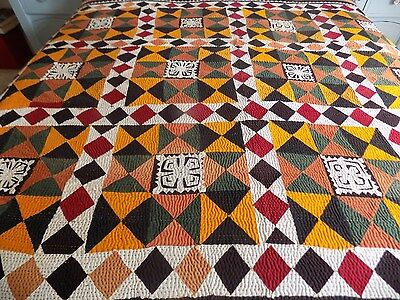 Vintage Patchwork Quilt Ralli Handmade Vibrant Colours And Great Condition