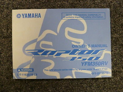 Yamaha Model YFM350RV Raptor 350 ATV Owner Owner's Manual User Guide Book