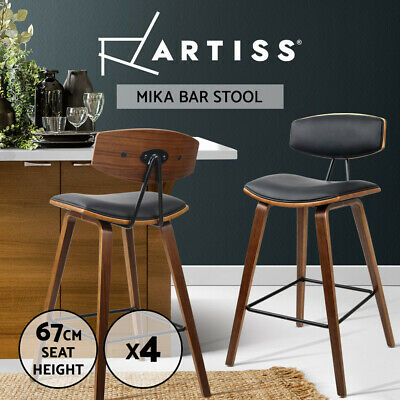 4x Wooden Bar Stools Kitchen Bar Stool Dining Chair Cafe Wood Black 8782