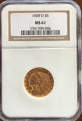 1909 D $5.00 Gold Half Eagle Indian, NGC MS61