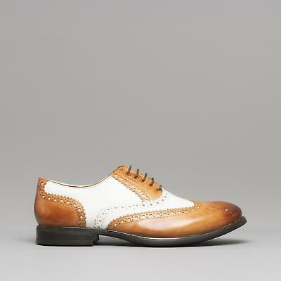 Mister Carlo MONTY II Men Leather Vintage Classic Brogue Lace Up Shoes Tan/White