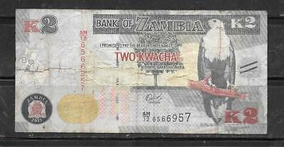 ZAMBIA #49d 2015 VG USED 2 KWACHA BANKNOTE PAPER MONEY CURRENCY BILL NOTE