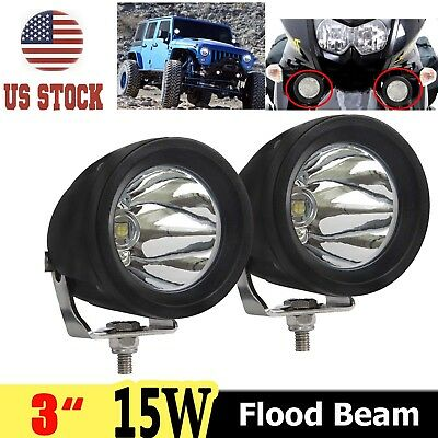 2x15W 3'' for CREE LED Work Light Flood Beam Driving Lamp Offroad Motorcycle ATV