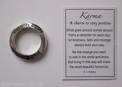 J What goes around comes around KARMA Charm Pendant Pocket Token Ganz