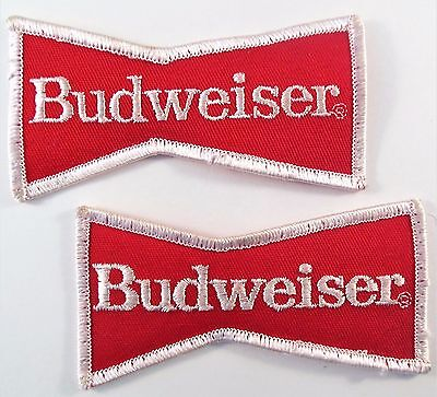 2 Budweiser Bow Tie Bowtie Used Patches Beer Logo Uniform Red White