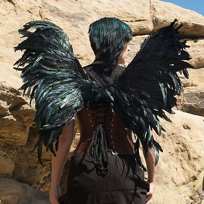 Feathered Black Bird Wings Feather Sexy Angel Dragon Adult Halloween Costume