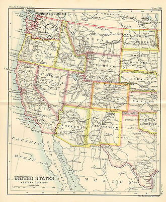 "1890 small map of  "" united states western division  "" by john bartholomew 1890"