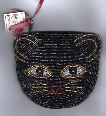 H51 Mulberry St beaded bag cat face both sides 4X4.5in unused