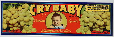 CRY BABY Vintage Thompson Grape Crate Label, Toddler,  ***AN ORIGINAL LABEL***