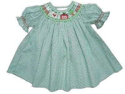 Girls Rosalina Smocked Farm Santa Holiday Portrait 9 mos Bishop Dress
