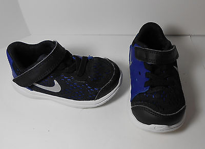 Toddler Boys Nike Flex 2017 RN Tennis Shoes Sneakers Size 5C Used Blue Black