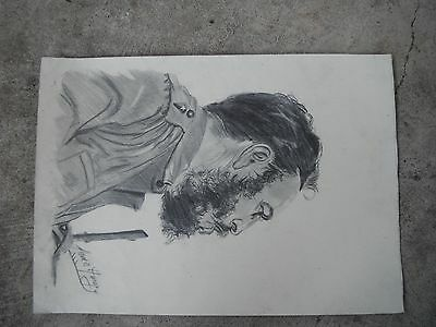 Fidel Castro charcoal drawing