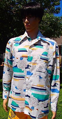 vtg 70s JOEL CALIFORNIA floral disco shirt butterfly collar polyester mens large