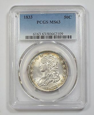 1833 Capped Bust/Lettered Edge Half Dollar PCGS MS 63  Silver 50c
