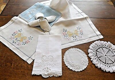 Nine Vintage Hand Embroidered Linens - Maderia Napkins - Table Runner - Doilies