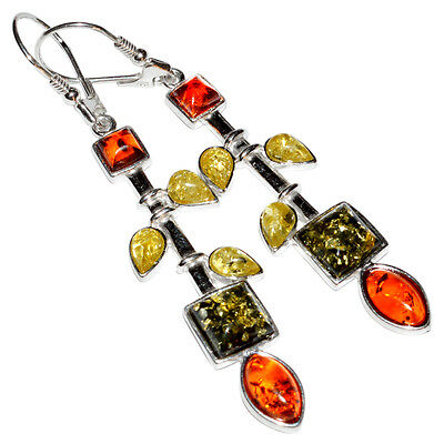 8.1g Authentic Baltic Amber 925 Sterling Silver Earrings Jewelry N-A8176
