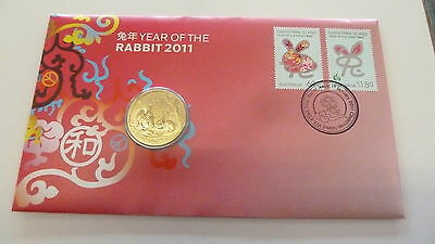 Australia / Christmas Island - 2011 Year of the Rabbit $1.00 Coin and FDC