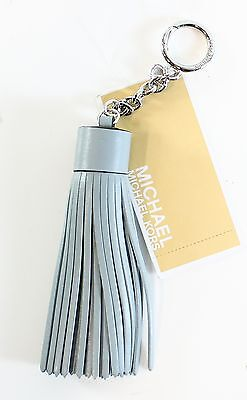 Michael Kors NEW Fob Dusty Blue Silver Leather Tassel Key Charm Ring $58 #034