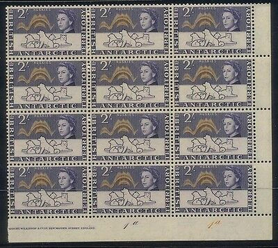 British Antarctic Territory 2/- 1963 Marginal Block of 12, MUH
