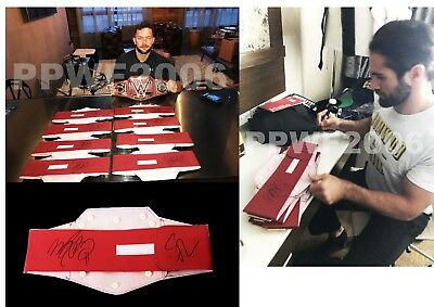 Wwe Finn Balor & Seth Rollins Hand Signed Toy Universal Belt With Pic Proof Coa