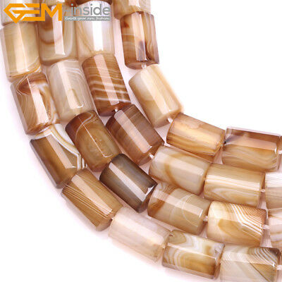 """Faceted Column Natural Tube Botswana Agate Stone Beads For Jewelry Making 15"""""""