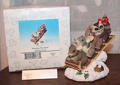 Charming Tails Sharing The Ride Sled Figurine in Box 97/34