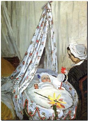 "CLAUDE MONET ~ Baby in Cradle ~ CANVAS ART PRINT Poster ~ 8""X 12"""