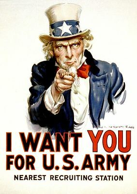 "Vintage War Propaganda Poster CANVAS PRINT Uncle Sam I want You 16""X12"""