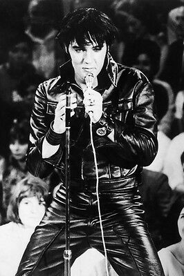 "ELVIS PRESLEY Vintage Black leather singing CANVAS ART PRINT Poster 16""X 12"""