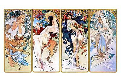 "Alphonse Mucha `Four Seasons'  CANVAS ART PRINT Poster 8""X 10"""