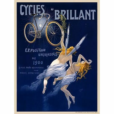 Vintage Bicycle Poster Cycles Brilliant CANVAS PRINT A4