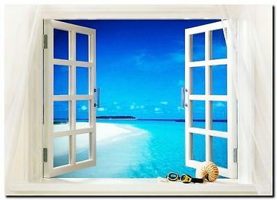 "TROPICAL BEACH WINDOW VIEW CANVAS ART PRINT poster 16""X 12"""