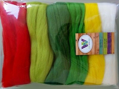 Easter* Pure Wool Tops for dry and wet felting 6 colours Yellow Green Red, 60 g