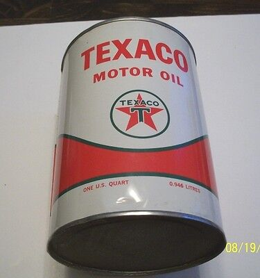 "Beautiful 1 Quart, ""texaco Motor Oil"" Tin Can, Clean And Rust Free"