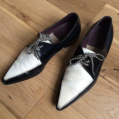 vtg RARE 70s BRITISH REAL LEATHER POINTED WINKLEPICKER SHOES BY CURATION U.K 7.5