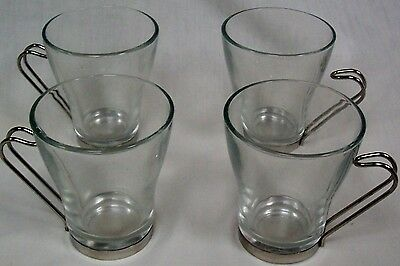 Vitrosax Clear Glass Cups Reverse Hook Chrome Handle Italy Lot of 4