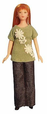 1/12Th Scale Dolls House  Modern Woman In Green Jumper