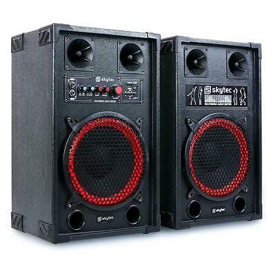 [B-Ware] Aktives Dj Pa Bass Boxen Lautsprecher Set 600W Party Sound System Usb
