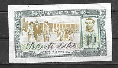 ALBANIA #32a 1976 10 LEKE VF CIRC OLD BANKNOTE PAPER MONEY CURRENCY BILL NOTE