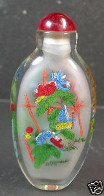 CHINESE GLASS INSIDE PAINTING Flower SNUFF BOTTLE 811405