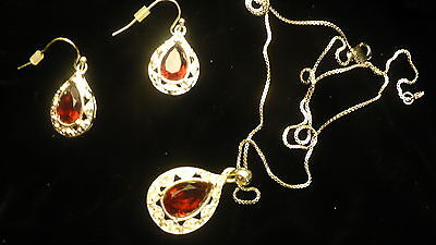 Eastern Star red Electa  necklace earrings OES  rhinestone silver colour NEW