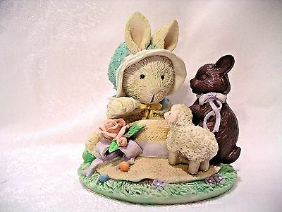"1992 Enesco ""cream & Cocoa""our Friendship Is So Sweet,easter Hat,chocolate Bunny"