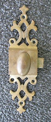 Ornate Antique Victorian Cast Brass Cabinet Cupboard Door Latch Knob