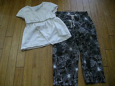 Motherhood-J W Maternity-Top And Pants-Sz Sm--Blk And White