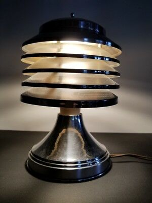 Canadian Art Deco Coulter Five Tiered Chrome Aluminium Table Lamp Machine Age